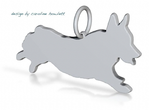 Corgi run run dog  pendant sterling silver handmade by saw piercing Caroline Howlett Design